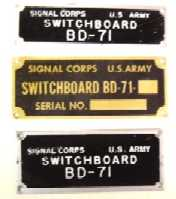 Nameplates, BD-71 Switchboard